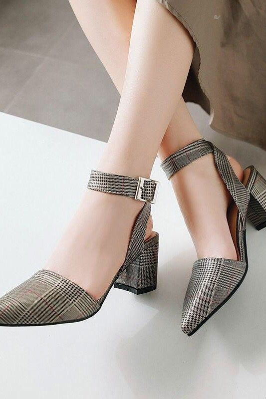 Fashion Big Ankle Strap Pointed Toe Sandals Women High Heels in .