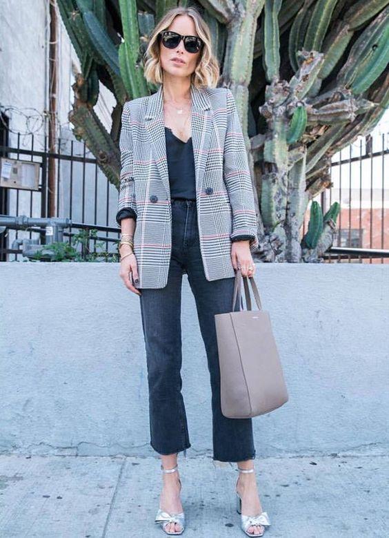 15 Ways To Wear A Grey Plaid Blazer Right Now - Styleohol