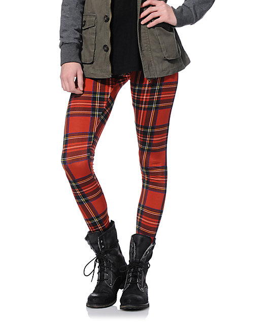 See You Monday Red Plaid Leggings | Zumi