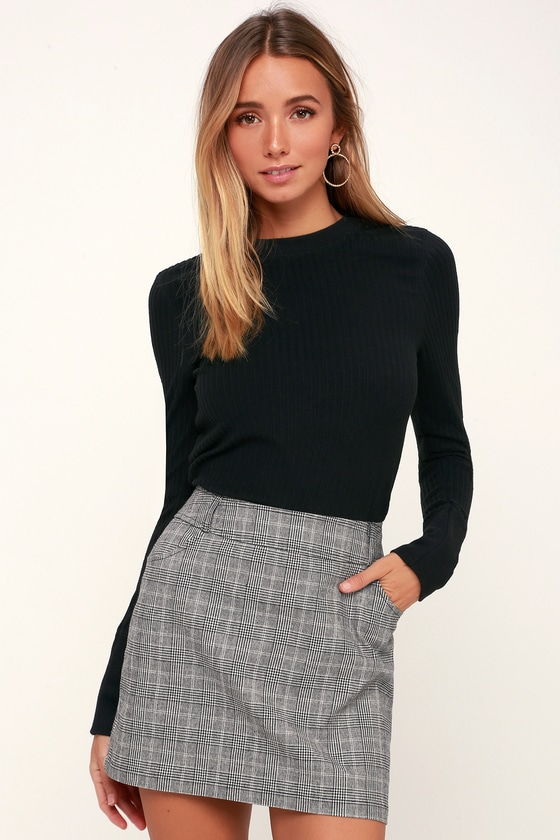 Everything Nice Black and White Glen Plaid Mini Skirt | Plaid mini .