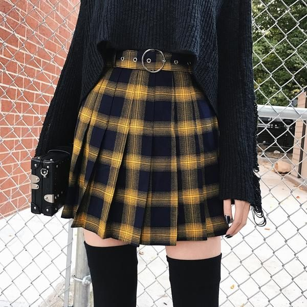 Gothic Punk Harajuku Plaid Pleated Skirt | Skirt fashion, Edgy .