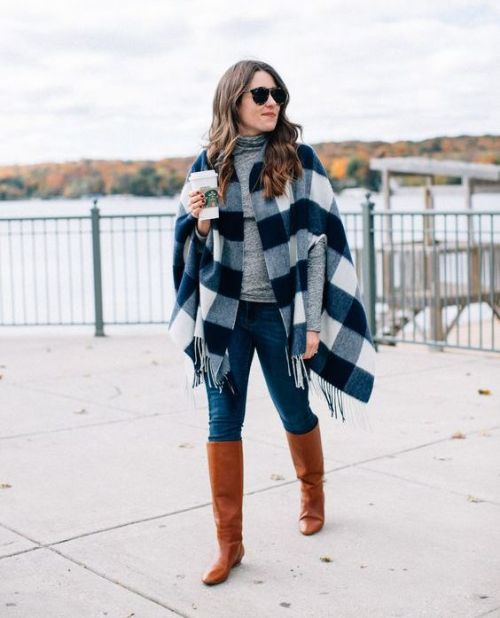 plaid poncho outfit – Just Trendy Gir