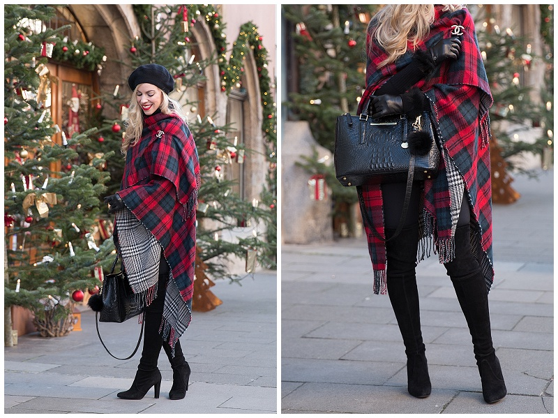 red plaid reversible ruana poncho, oversized poncho with thigh .