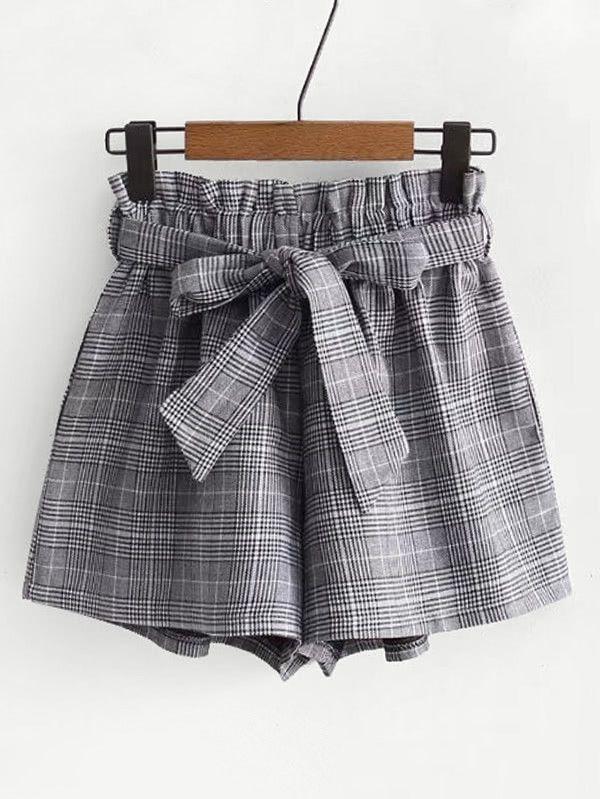 Shorts à carreaux avec lacet | Vêtements stylés, Mode veteme
