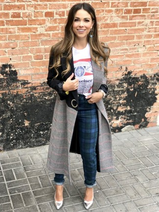 How to Wear Navy Plaid Skinny Pants (15 looks & outfits)   Women's .