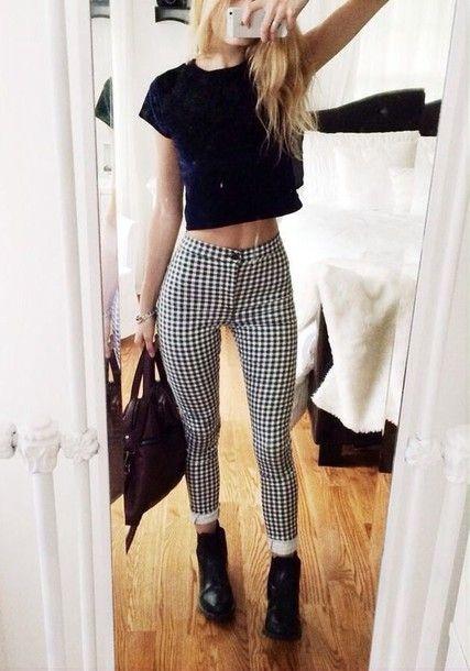 Gemma Monochrome Gingham High Rise Skinny Jeans at boohoo.com .