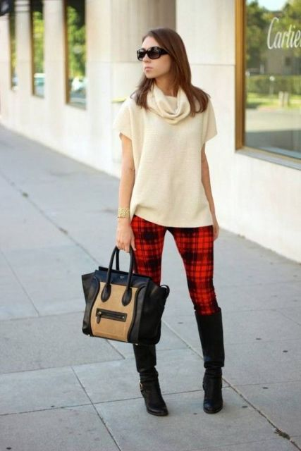 20 Comfy Outfits With Plaid Pants For Women - Styleohol