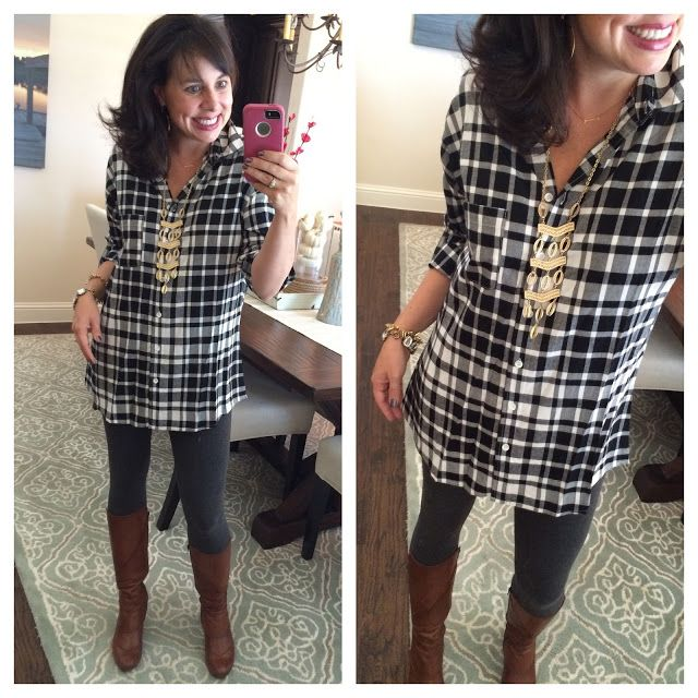 Let's Talk TUNICS! Black and white plaid top with grey leggings .