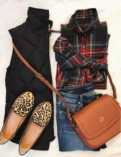 Black puffer vest outfit idea for fall and winter. Plaid shirt .