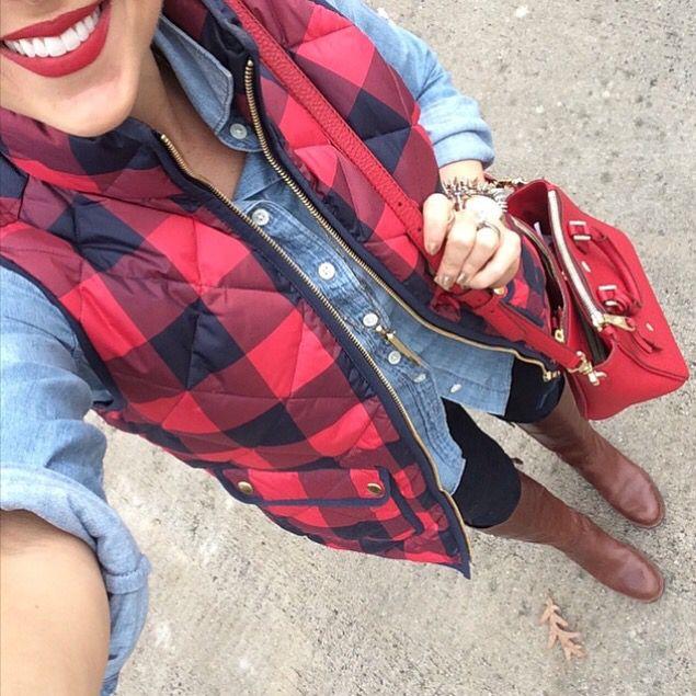 Buffalo Check Puffer Vest | Fashion, Fall winter outfits, Sty