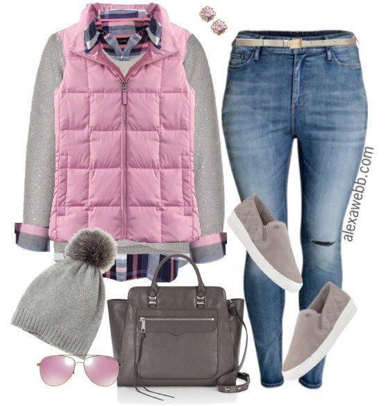Plus Size Outfit Idea - Pink Vest and Plaid | Fashion, Plus size .