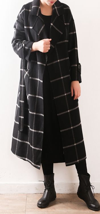 Elegant-black-Plaid-Wool-coats-plus-size-clothing-Notched-tie .
