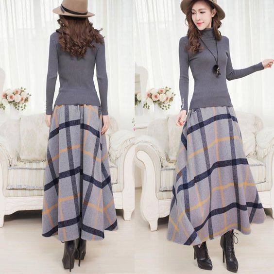 Winter Long Plaid Skirt Women Vintage Thick Plaid Wool Skirts High .