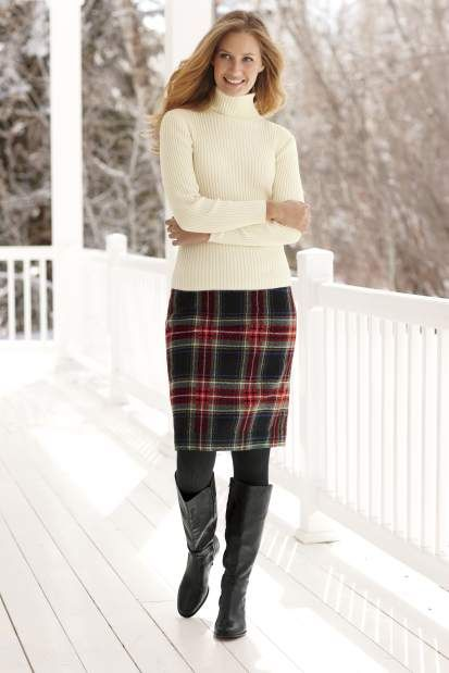 L.L. Bean 'Andover' wool-blend plaid skirt (con imágenes .
