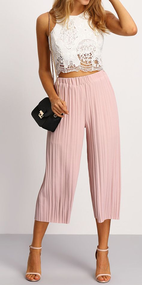 Pleated Elastic Waist Culottes PINK | MakeMeChic.COM | Fashion .