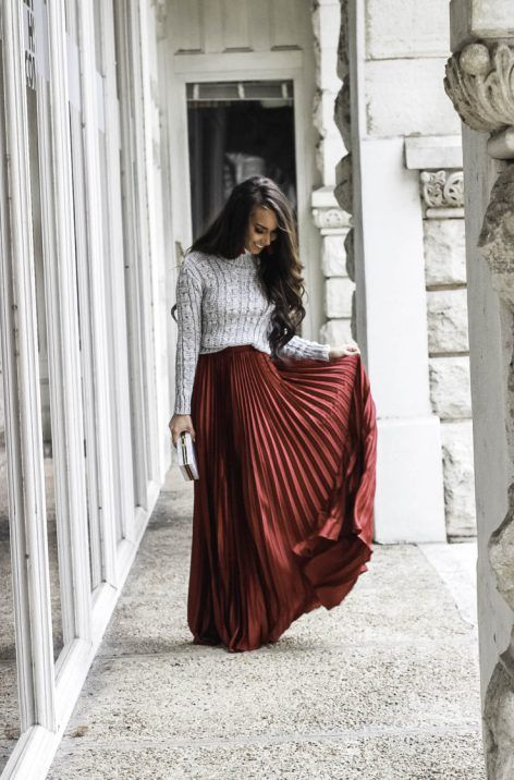 Red Pleated Maxi Skirt Under $30 - Affordable Winter Outfit Shein .