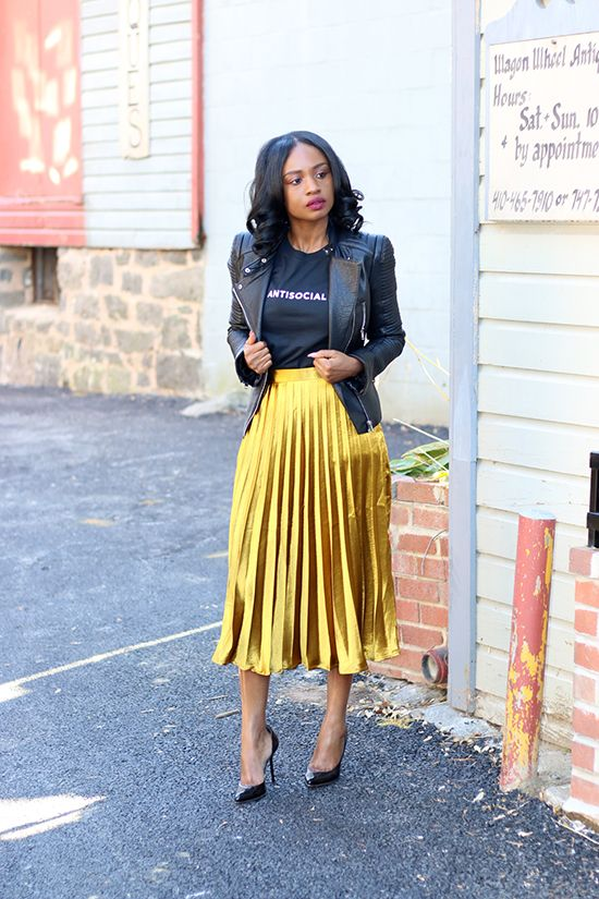 Leather and Silk | Metallic skirt outf