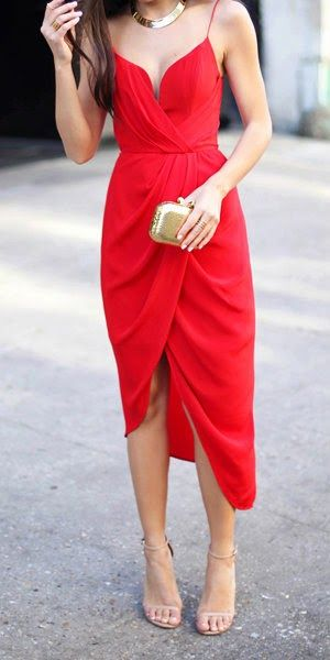 Red Silk Plunge Drape Dress - With Love From Kat   Draped midi .