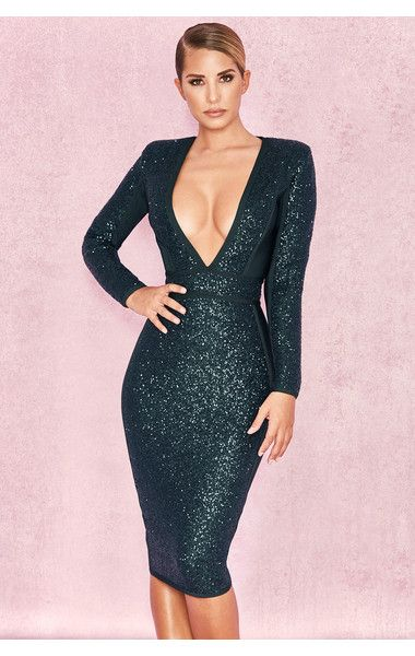 Clothing : Bandage Dresses : 'Siena' Evergreen Sequin and Bandage .