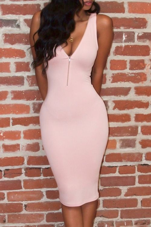 Pink Plunging Neck Sleeveless Bodycon Dress PINK: Bodycon Dresses .