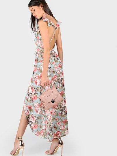 Rose Print Cross Back High Split Plunge Dress | SHEIN | Plunge .