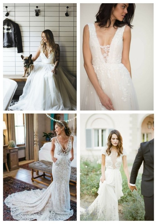 plunging neckline wedding dress | HappyWedd.c