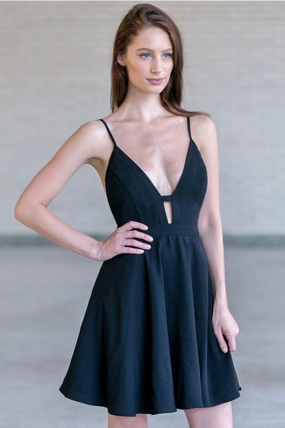 Black Plunging Neckline Dress, Black Party Dress, Black Cocktail .