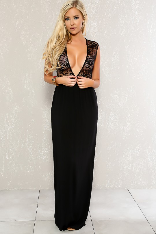 Sexy Black Lace Plunging Neckline Sleeveless Casual Maxi Dre