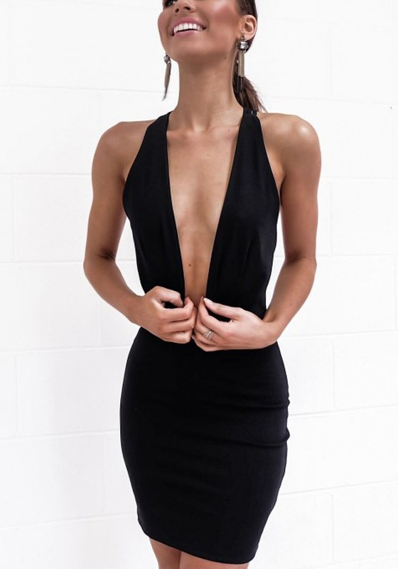 Black Cross Back Zipper Plunging Neckline Mini Dress - Mini .