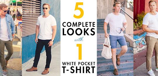 5 Ways to Wear a White Pocket T-shirt - Style Inspirati
