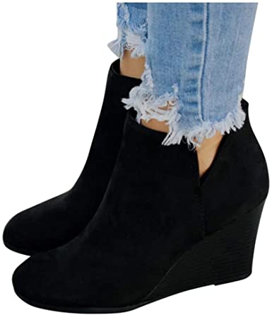 Gibobby Ankle Boots for Women Wide Width Women's Casual Slip On .