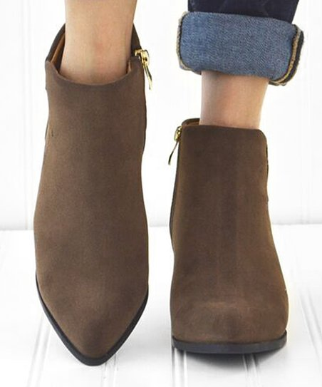 Mata Shoes Brown Pointed-Toe Ankle Boot - Women | Zuli