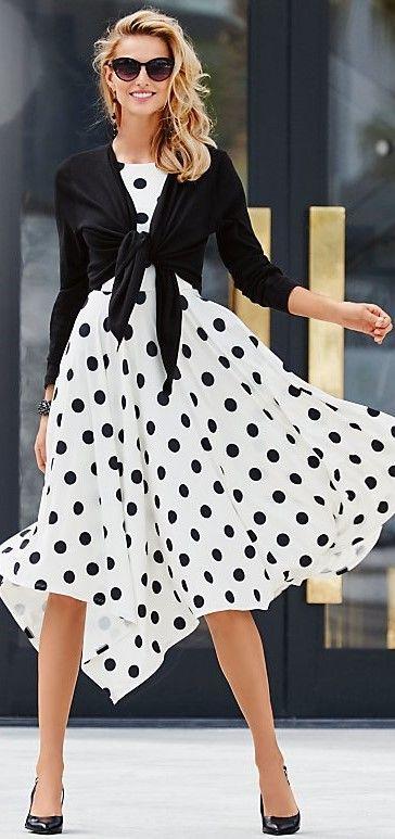 50+ Black and White Polka dot dresses Ideas | White polka dot .