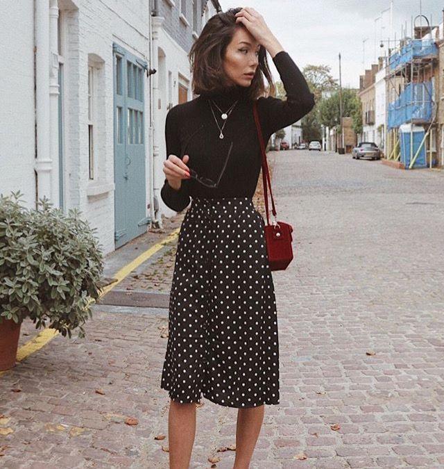 Black Turtleneck + Polka-Dot Midi Skirt // Women's Fashion, Outfit .