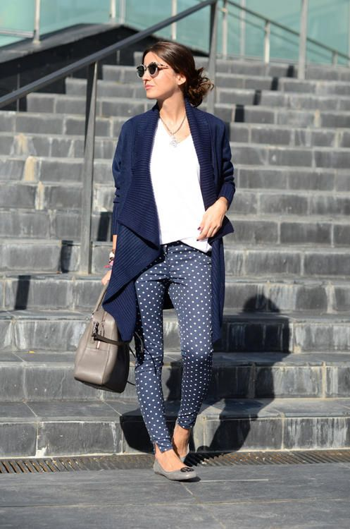 polka dot pants / oversized cardigan / white Tee...I have all of .