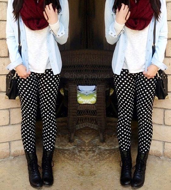 Polka dot pants | Polka dots leggings outfit, Polka dot pants .