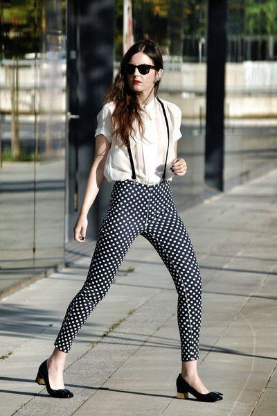 Polka Dot Pants with Braces | Polka dots outfit, Polka dot pants .