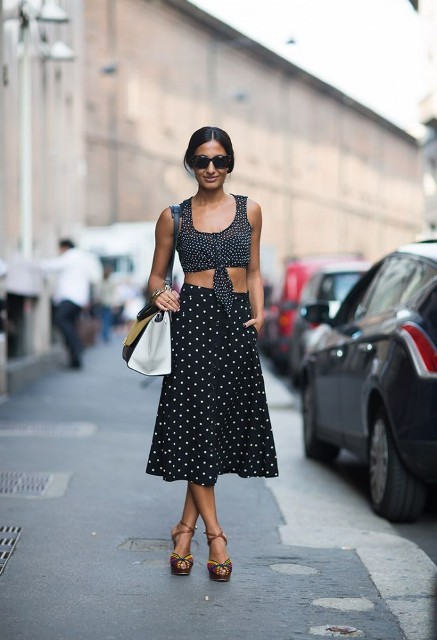 Picture Of With polka dot A line skirt, platform sandals and b