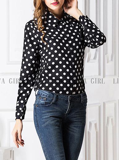 Womens Polka Dot Shirt - Broadway / simple lapel Coll