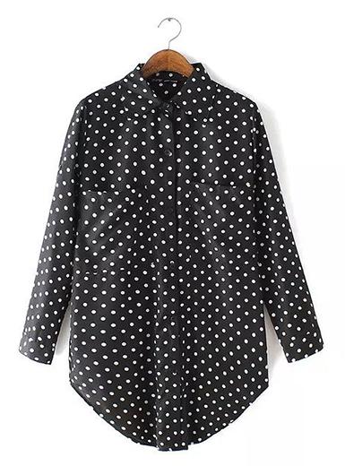 Womens Lovely Polka Dotted Shirt - Black and White / Rounded Hemli