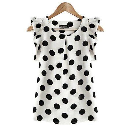 EFINNY - EFINNY Women Chiffon Polka Dot Ruffle Sleeve Office Lady .