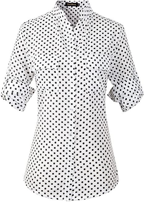 Beninos Women's Polka Dot Chiffon Elegant Casual Button Down Shirt .