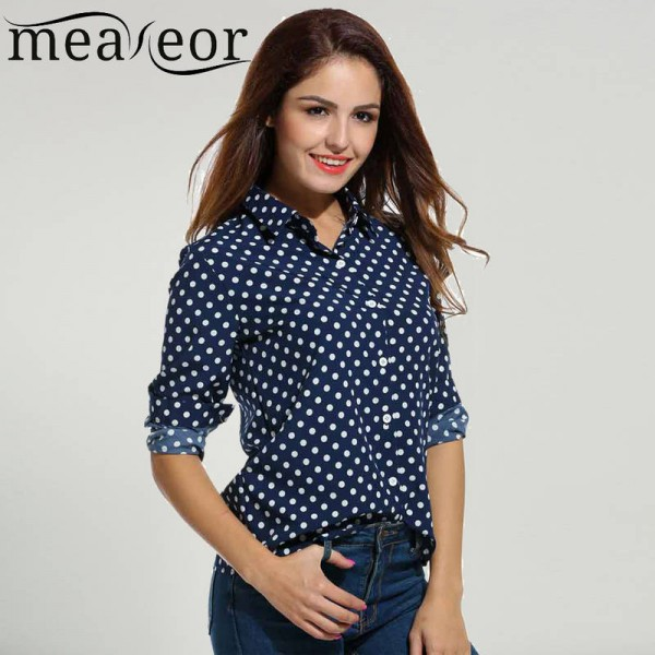 Meaneor Polka Dot Blouse Long Sleeve Chiffon Casual Loose Button .
