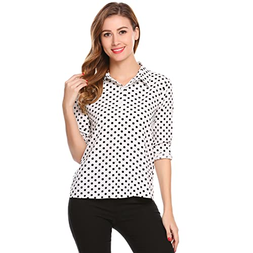 White and Black Polka Dot Shirt: Amazon.c