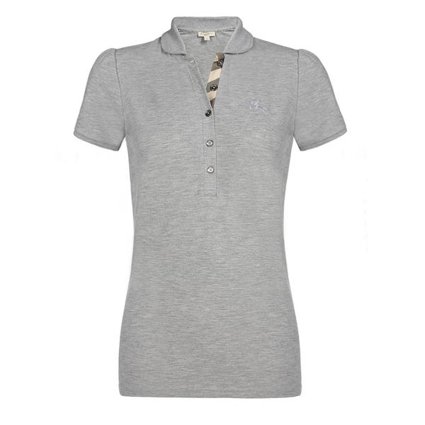 Shop Burberry Women's Grey Cotton Melange Polo Shirt - On Sale .