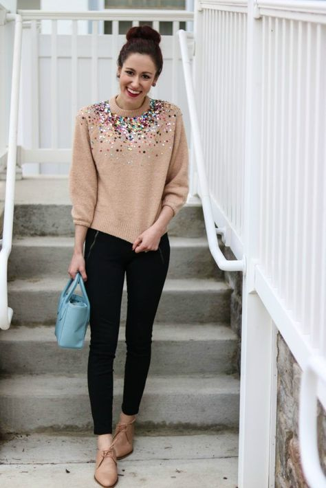 CURRENTLY... | Sequin sweater, Winter skirt outfit, Professional .