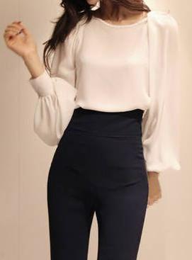 Puff Sleeve Chiffon Blouse. dresslily.com | White chiffon blouse .