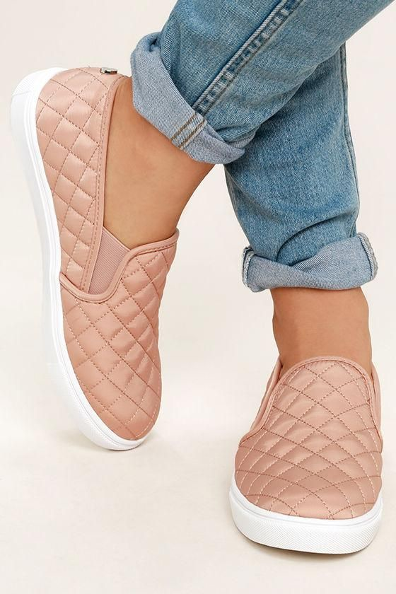 Shop Lulus Steve Madden Ecntrcqt Blush Quilted Slip-On Sneakers .