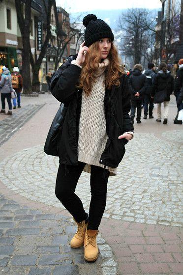 Pull & Bear Jacket, H&M Sweater, Timberland Boots | Timberland .