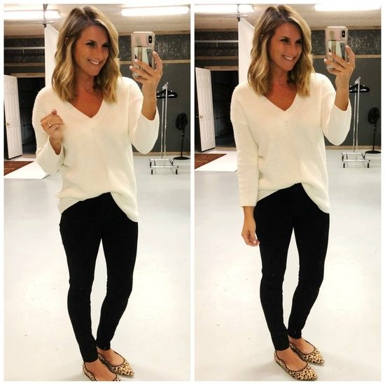 Fall Outfit Idea // Ivory Sweater // Ivory Sweater with Black .